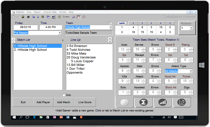 Volleyball Stat Software