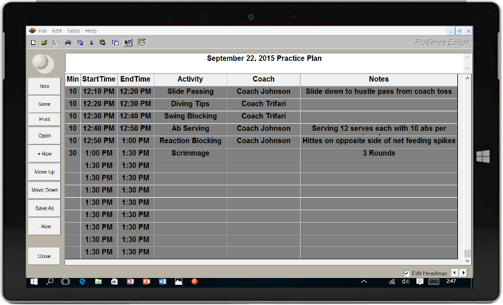 Volleyball Practice Planner
