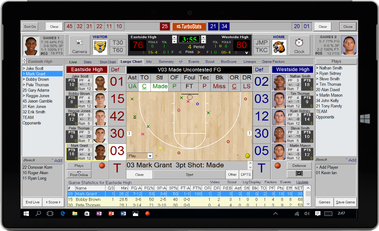Basketball stat tracking software app