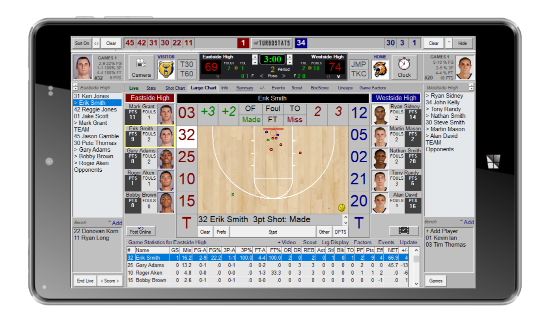 TurboStats for Basketball on NuVision Tablet